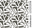 Seamless pattern with hairdressing related symbols - stock