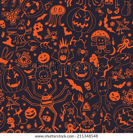 Seamless Pattern With Halloween Pumpkins And Monsters - stock vector