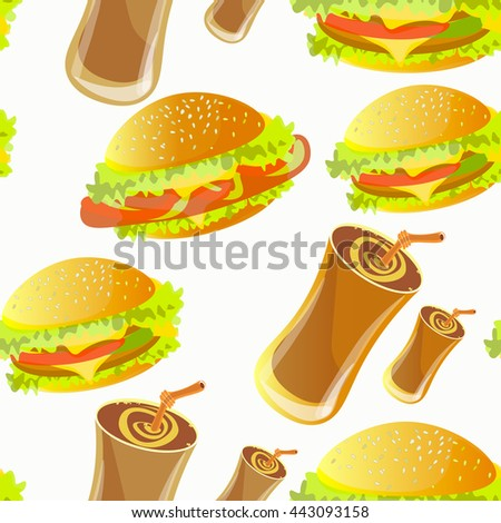 seamless pattern with hamburger and soft drink.