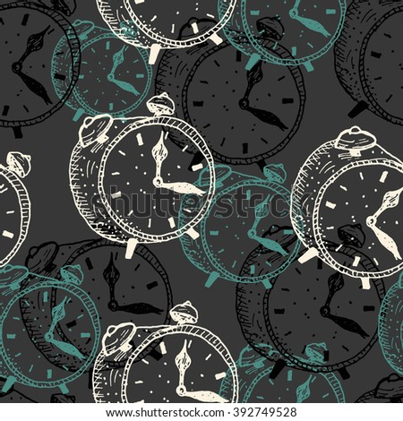 seamless pattern with hand drawn alarm clocks isolated on a dark background