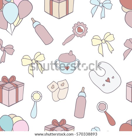 Seamless Pattern Hand Drawn Baby Girl Stock Photo Photo Vector