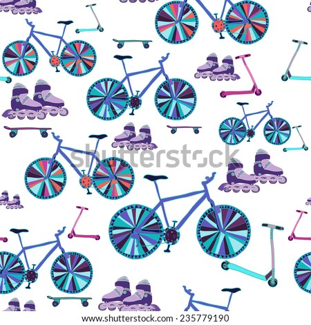 Seamless pattern with hand drawn bikes, scooters, skateboards, rollers on white background. Clipping mask is used, vector illustration.  - stock vector