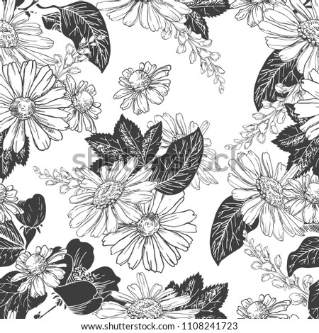 Seamless Pattern With Hand Drawn Black And White Chamomiles Bluebells Leaves On Background