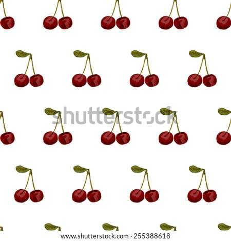 Seamless pattern with hand-drawn cherries on white background. Vector illustration. - stock vector