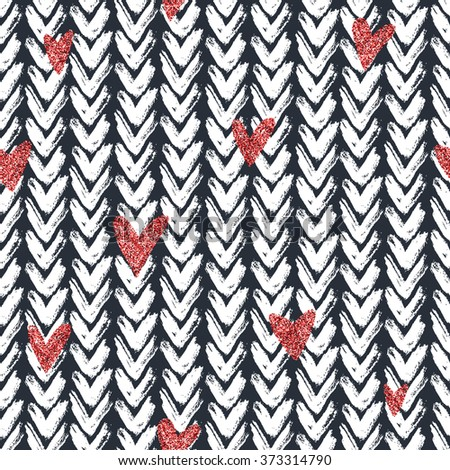 Seamless pattern with hand drawn chevron stripes and red glitter heart, for wrapping, wallpaper, textile, invitation, wedding cards, banners, posters, flyers