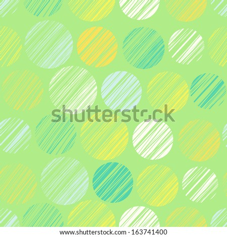 Seamless pattern with hand drawn circle elements. Abstract linear decorative background. Vector illustration - stock vector