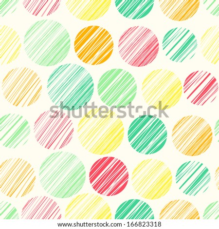 Seamless pattern with hand drawn circle elements. Abstract linear texture - stock vector