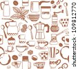 Seamless pattern with hand drawn coffee related symbols - stock vector