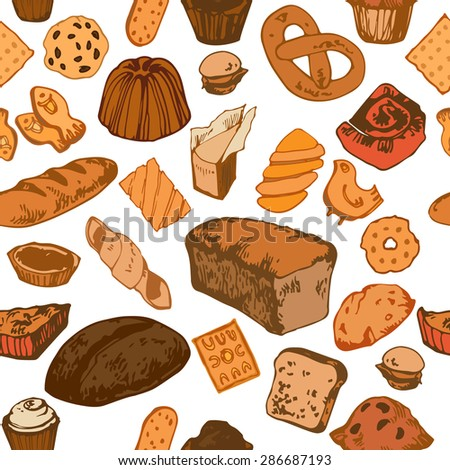 Seamless pattern with hand drawn colorful bakery: bread, buns, scone, cookies, pretzel, cake, pie. Vector illustration