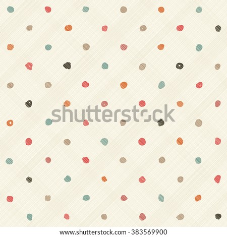 seamless pattern with hand drawn colorful polka dots on  texture background - stock vector