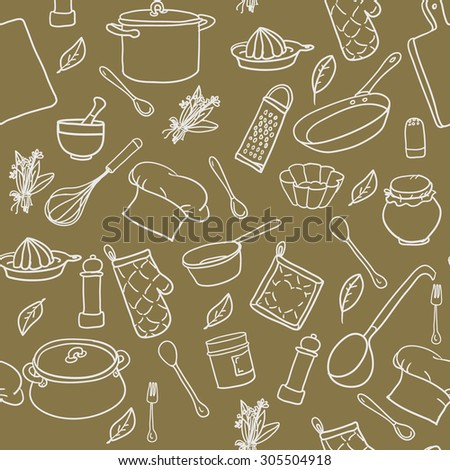 Seamless pattern with hand drawn cookware on olive colour background. Kitchen background. Retro wallpaper with doodle kitchen equipments. Vector illustration. - stock vector