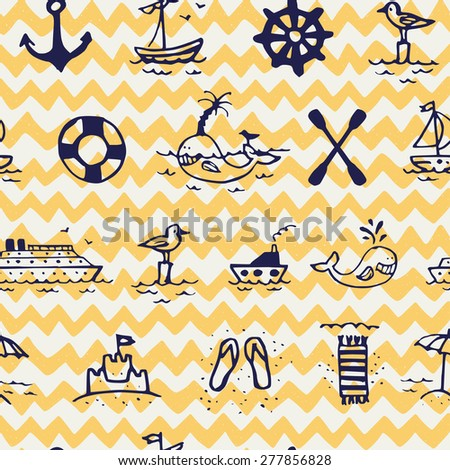 Seamless pattern with hand drawn doodle sea icons on chevron background. Tiling background with cartoon whale, seagull, different ships and beach umbrella, sandals and towel. - stock vector