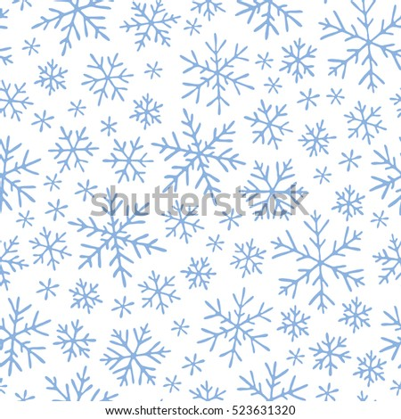 Seamless pattern with hand drawn doodle snowflake. Vector winter pattern. White snowflakes on violet background.