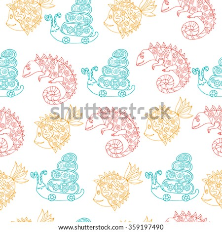 Seamless pattern with hand drawn doodle style set with fish, chameleon and snail with mechanic details inside. Robot animals. Colored sketch. Kids cartoon style. Vector stock illustration. - stock vector
