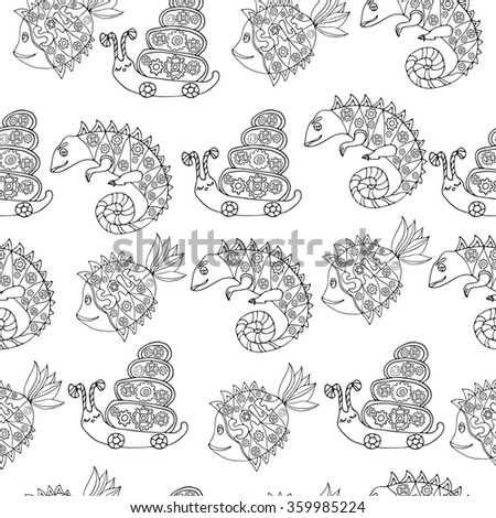 Seamless pattern with hand drawn doodle style set with fish, chameleon and snail with mechanic details inside. Robot animals. Black and white sketch. Kids cartoon style. Vector stock illustration. - stock vector