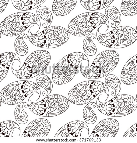 Seamless pattern with hand drawn elements henna style. Background, wallpaper, textile, cover, wrapper.