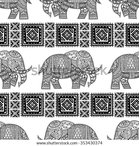 Seamless Pattern with Hand Drawn Ethnic Elephant. Zenart Stylized - stock vector