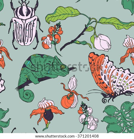 Seamless pattern with hand drawn exotic plants, animals and insects in vector