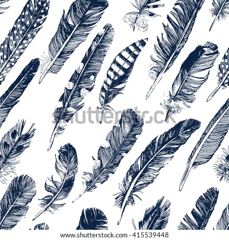seamless pattern with hand drawn feathers on white background - stock vector