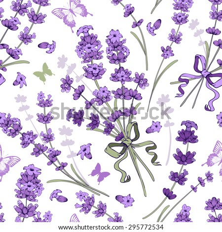 Seamless pattern with hand drawn floral elements in engraving style - fragrant lavender. Vector illustration. - stock vector