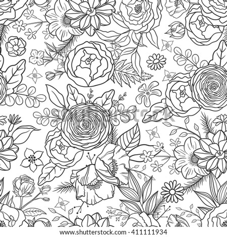 Seamless pattern with hand drawn flowers. Boho style. Black and white, suitable for coloring book. Floral pattern for textile, packaging, greeting cards, wedding decoration. Bohemian collection - stock vector