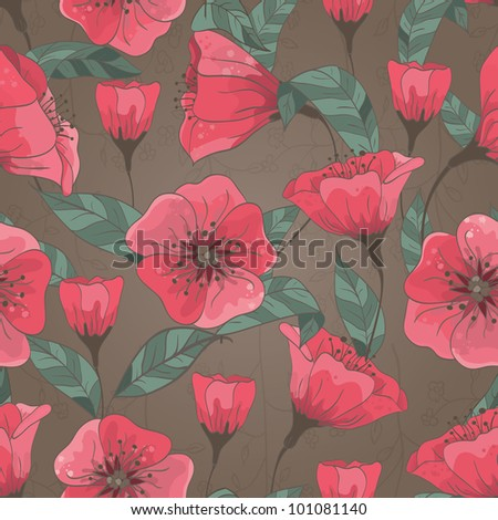Seamless pattern with hand drawn flowers. EPS 10 vector illustration. - stock vector