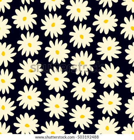 Seamless pattern with hand drawn flowers in cream and yellow on dark blue background.