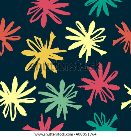 Seamless pattern with hand-drawn flowers. Vector design.