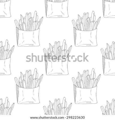 Seamless pattern with hand drawn french fries. Sketched fast food vector illustration. Background for cafe, restaurant, eatery, diner, website or take away bag design - stock vector