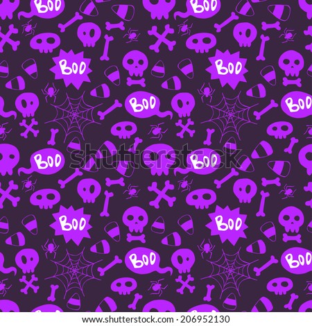 Seamless pattern with hand drawn halloween doodles.  Childish tiling background with cartoon spooky  skulls, bones and spider webs.