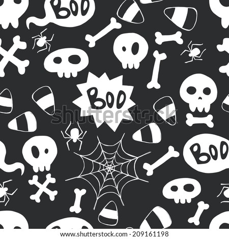 Seamless pattern with hand drawn halloween doodles. Childish tiling background with cartoon spooky skulls, bones and spider webs. - stock vector