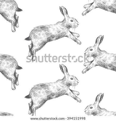 Seamless pattern with hand drawn hares - stock vector
