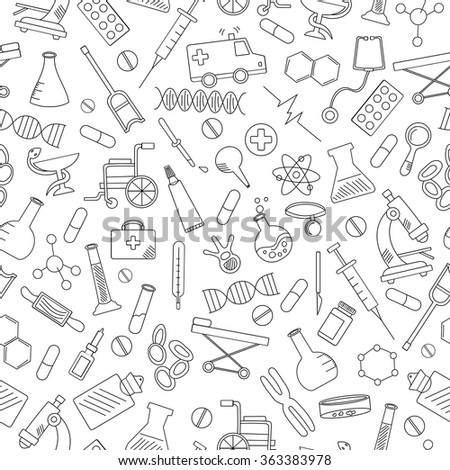 Seamless pattern with hand drawn icons on a theme medicine and health, black contour on white background