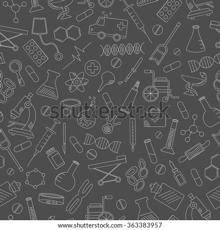 Seamless pattern with hand drawn icons on a theme medicine and health, bright outline on a dark background