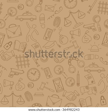 Seamless pattern with hand drawn icons on the theme of law and crimes, brown contour on a beige background