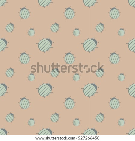 seamless pattern with hand drawn ink beetles. beige background