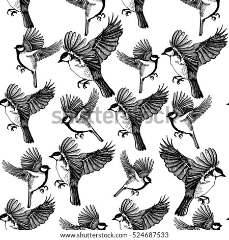 Seamless pattern with hand drawn ink birds