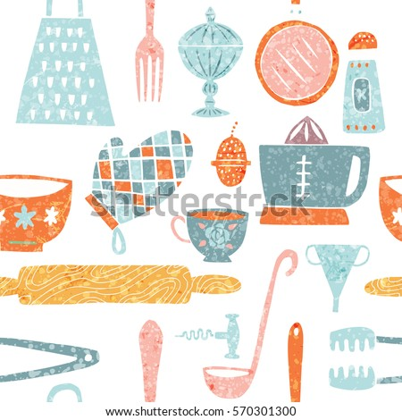 Seamless pattern with hand-drawn kitchenware and utensils in trendy modern  style with organic texture