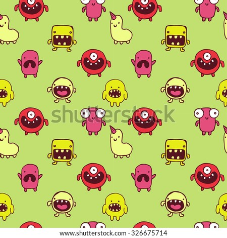 seamless pattern with hand drawn monster doodles
