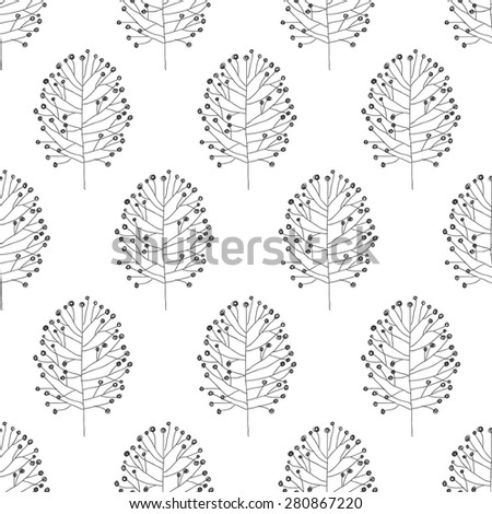 seamless pattern with hand drawn nature decoration elements. vector illustration - stock vector