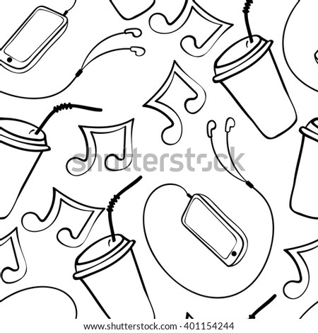 Seamless pattern with hand drawn phone, note and paper coffee cup. Vector illustration