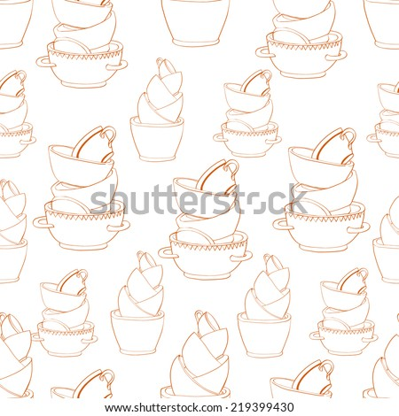 Seamless pattern with hand drawn piles of cups and plates. Clipping mask is used, vector illustration. - stock vector