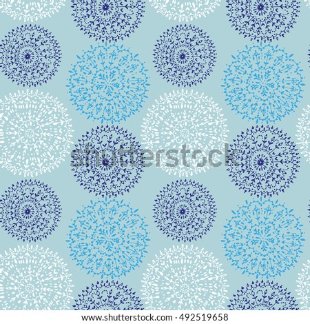 Seamless pattern with hand drawn round lace. Lace seamless background. Vector illustration.
