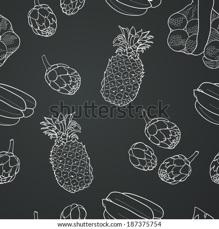 Seamless pattern with hand drawn sketchy fruits. Doodle pineapple, bananas, oranges and artichoke on chalkboard background.