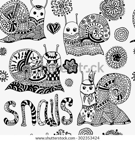 Seamless pattern with hand drawn snails and flowers. Original cute snail, funny faces. Shell, horns. Big eyes. Hipster snail, snail Indian, pretty snail, snail boy. patterned letters. - stock vector