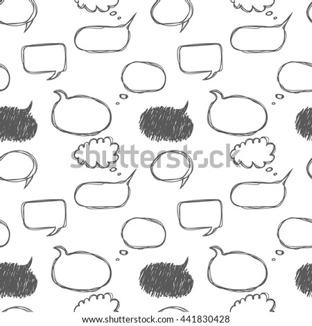 Seamless pattern with hand drawn speech bubbles. Doodle frames for text conversation. Speaking, Talk, a dialogue, phrase story place for comics. - stock vector