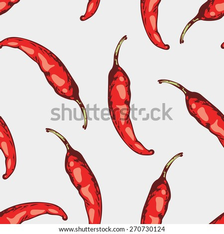 Seamless pattern with hand drawn spicy chili peppers in vector. Sketched food background illustration - stock vector