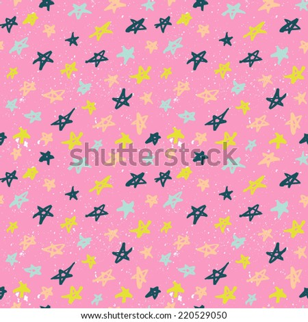 Seamless pattern with hand drawn stars. Abstract ink stars background. Bright pink abstract ornament with stars. - stock vector