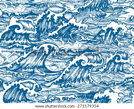 Seamless Pattern with Hand Drawn Stylized Sea Waves. Vector Illustration. - stock vector