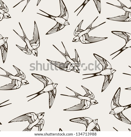 Seamless pattern with hand-drawn swallows - stock vector